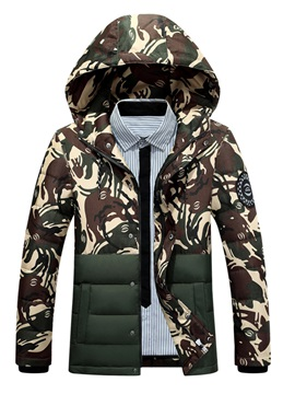 Mosaic Camouflage Pattern Hooded Zipper Slim Men's Down