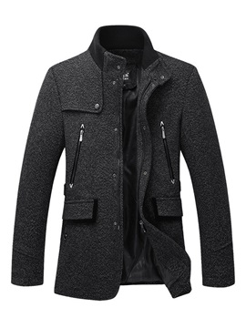 Stand Collar Woolen Zipper Solid Color Slim Warm Men's Coat