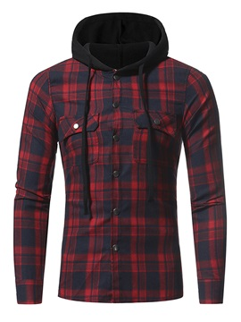 Single-Breasted Lattice Long Sleeve Hooded Slim Men's Casual Shirt