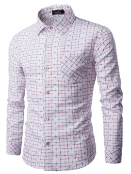Long Sleeve Lattice Lapel Single-Breasted Slim Men's Casual Shirt