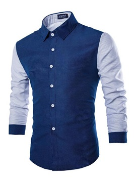 Single-Breasted Long Sleeve Lapel Slim Men's Casual Shirt
