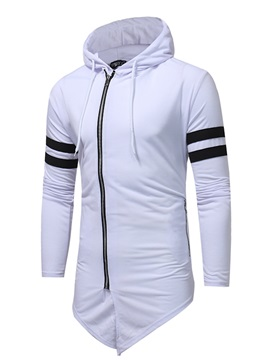 Medium Length Zipper Stripe Long Sleeve Slim Men's Hoodie