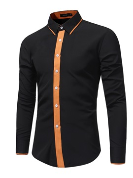 Single-Breasted Lapel Slim Fit Long Sleeve Men's Casual Shirt