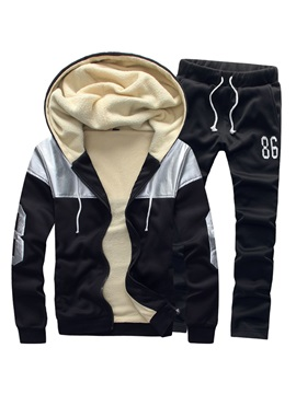 Hooded Zipper Mosaic Color Warm Long Sleeve Men's Outfits