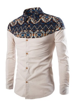 Ethnic Style Lapel Single-Breasted Long Sleeve Slim Men's Casual Shirt