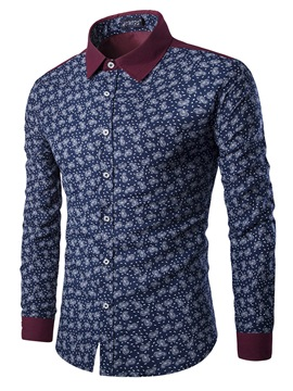 Mosaic Pringting Color Single-Breasted Long Sleeve Men's Casual Shirt