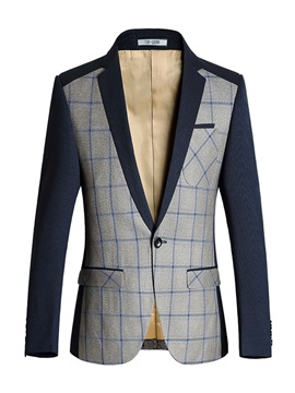 Lattice One Button Plaid Lapel Slim Long Sleeve Men's Blazer