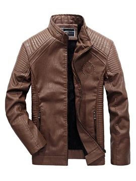 Stand Collar Leather Zipper Solid Color Slim Warm Men's Jacket