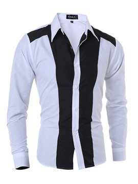 Mosaic Color Single-Breasted Long Sleeve Slim Men's Casual Shirt