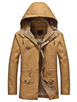 Solid Color Hooded Zipper Stand Collar Slim Men's Jacket