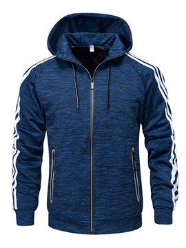 Mosaic Stripe Color Zipper Hooded Slim Men's Jacket