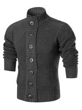 Stand Collar Single-Breasted Cotton Slim Warm Men's Sweater