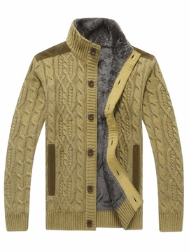 Stand Collar Patchwork Color Block Thick Cardigan Men's Sweater