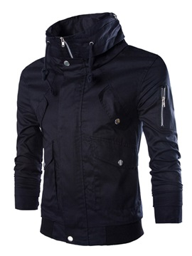 Hooded Solid Color Slim Straight Men's Jacket