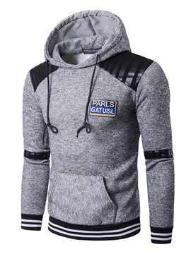 Hooded Patchwork Color Block Slim Pullover Men's Hoodie