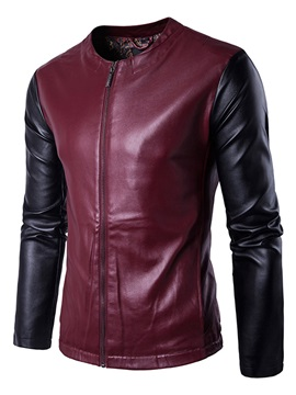 Round Neck Patchwork Leather Slim Color Block Men's Jacket