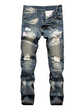 Mid-Waist Hole Straight Denim Men's Pants