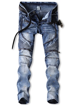 Mid-Length Slim Full Length Denim Men's Pencil Pants