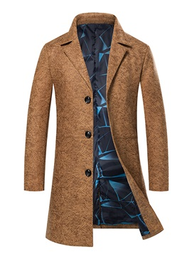 Notched Lapel Print Slim Mid-Length Men's Overcoat