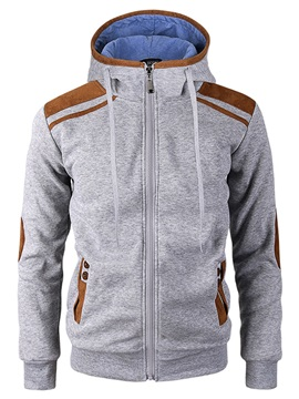 Hooded Zipper Patchwork Color Block Slim Men's Hoodie