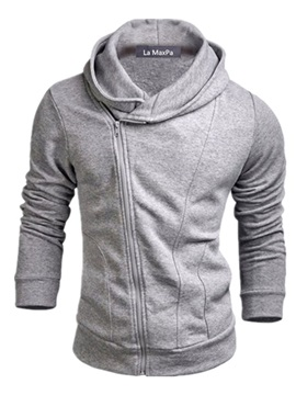 Hooded Oblique Zipper Solid Color Men's Hoodie