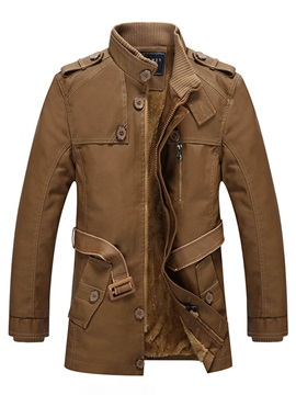 Stand Collar Thick Warm Patchwork Belt Men's Trench Coat