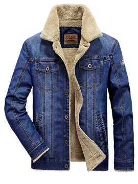 Stand Collar Thicken Warm Slim Denim Men's Jacket