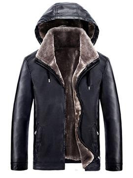 Stand Collar Leather Thicken Warm Men's Winter Coat