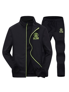 Stand Collar Zipper Long Pant Men's Tracksuit Outfit