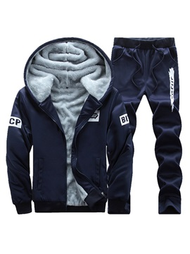 Hooded Fleece Two Piece Men's Tracksuit Outfit