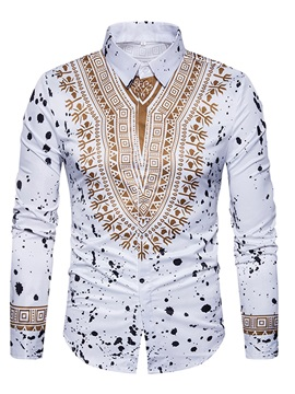 Stand Collar African Print Color Block Long Sleeve Men's Casual Shirt