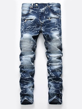 Mid-Waist Straight Worn Full Length Men's Denim Pants