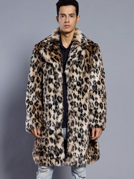 Lapel Leopard Print Color Block Mid-Length Men's Winter Overcoat