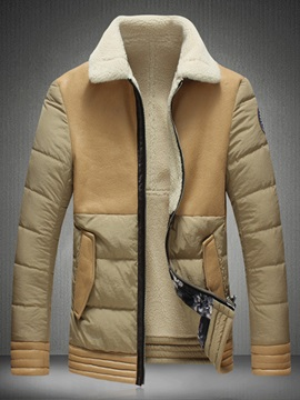 Lapel Faux Fur Collar Zipper Straight Men's Winter Coat