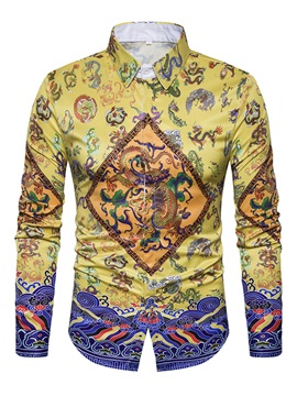 Tidebuy Lapel Color Block Chinese Style Ethnic Dragon Printed Slim Men's Shirt