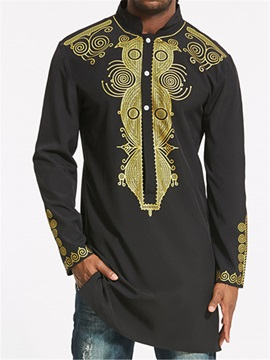 Tidebuy Stand Collar Dashiki Print Men's Long Shirt
