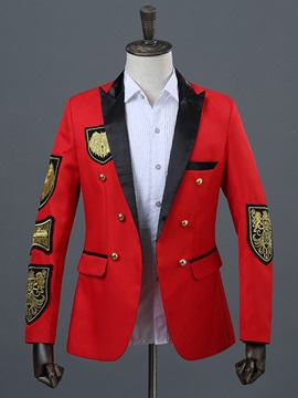 Patchwork Color Block Fit Men's Casual Blazer
