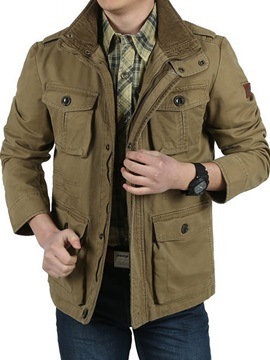 Tidebuy Stand Collar Pockets Solid Color Straight Men's Winter Jacket