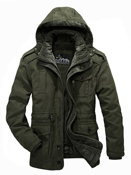 Tidebuy Stand Collar with Hood Pockets Men's Winter Coat