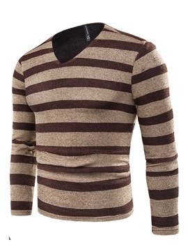 Tidebuy Stripe Color Block Long Sleeve Men's Pullover Sweater