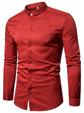 Tidebuy Lapel Solid Color Long Sleeve Men's Shirt