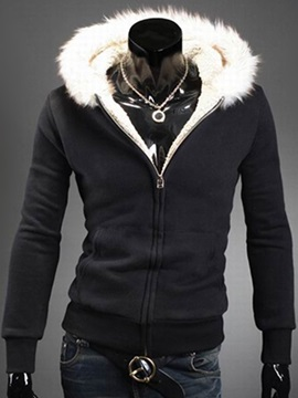 Tidebuy Fleece Hooded Cardigan Zipper Black Men's Hoodie