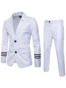 Tidebuy Plain Stripe Single-Breasted Two Piece Men's Suit