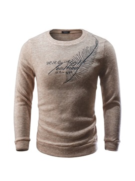 Tidebuy Round Neck Simple Print Men's Sweater