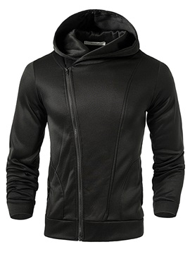 Tidebuy Plain Hooded Inclined Zipper Men's Hoodie