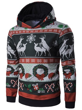 Tidebuy Christmas Theme Print Hooded Pullover Men's Hoodie