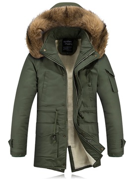 Hooded Faux Fur Back Split Men's Parka