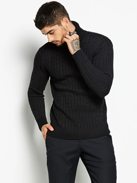 Tidebuy Black Turtleneck Warm Men's Slim Sweater