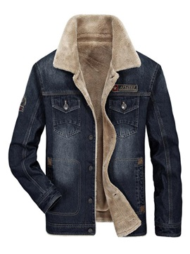 Tidebuy Lapel Button Fleece Men's Denim Jacket