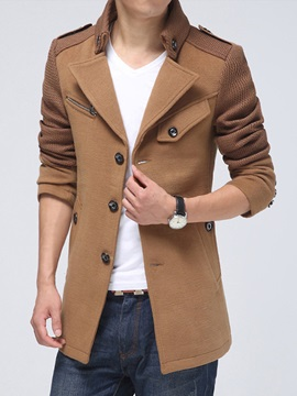 Tidebuy Plain Stand Collar Single-Breasted Men's Trench Coat